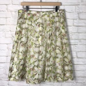 PENDLETON Floral Cluster Pleated Cotton/silk Skirt